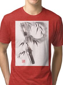 Moon blade bamboo sumi-e painting  Tri-blend T-Shirt