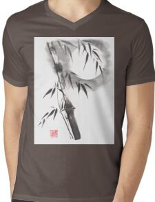 Moon blade bamboo sumi-e painting  Mens V-Neck T-Shirt