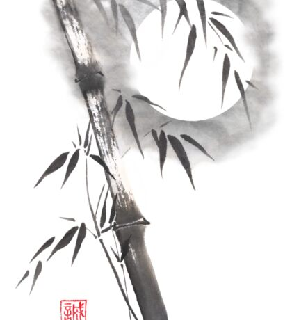Moon blade bamboo sumi-e painting  Sticker