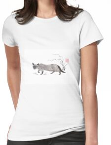 Blue-eyed menace sumi-e painting Womens Fitted T-Shirt