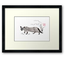 Blue-eyed menace sumi-e painting Framed Print