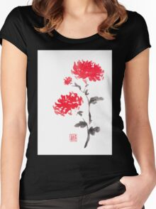 Royal pair sumi-e painting Women's Fitted Scoop T-Shirt