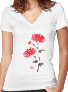 Royal pair sumi-e painting Women's Fitted V-Neck T-Shirt