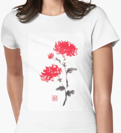 Royal pair sumi-e painting Womens Fitted T-Shirt