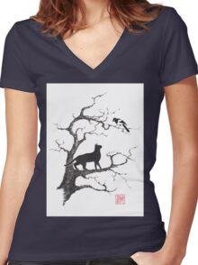 Dangerous conversations sumi-e painting Women's Fitted V-Neck T-Shirt