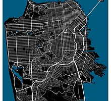 San Francisco city map black colour by mmapprints