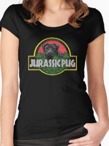 Jurassic Pug Funny Parody Urban Swag Women's Fitted Scoop T-Shirt