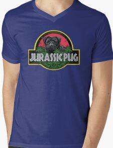 Jurassic Pug Funny Parody Urban Swag Mens V-Neck T-Shirt