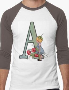 Letter A with Little Girl Holding Red Poppies Men's Baseball ¾ T-Shirt