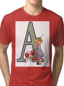 Letter A with Little Girl Holding Red Poppies Tri-blend T-Shirt