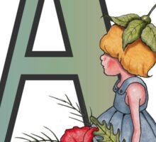Letter A with Little Girl Holding Red Poppies Sticker