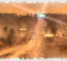 UFO on a Lonely Road by Raphael Terra by esotericaart