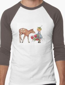 Little Fawn with Wood Sprite Girl and Poppies Men's Baseball ¾ T-Shirt