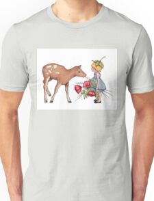 Little Fawn with Wood Sprite Girl and Poppies Unisex T-Shirt