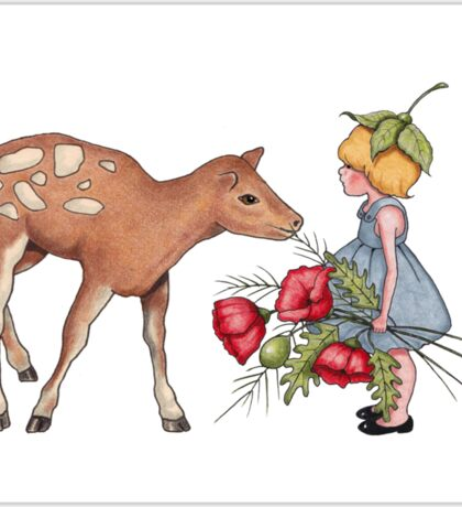 Little Fawn with Wood Sprite Girl and Poppies Sticker