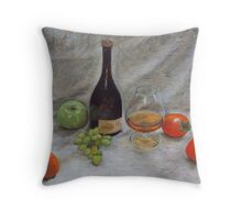 Cognac & Fruit Still Life Throw Pillow