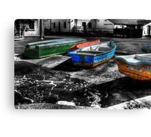 Row boats at Mudeford Canvas Print
