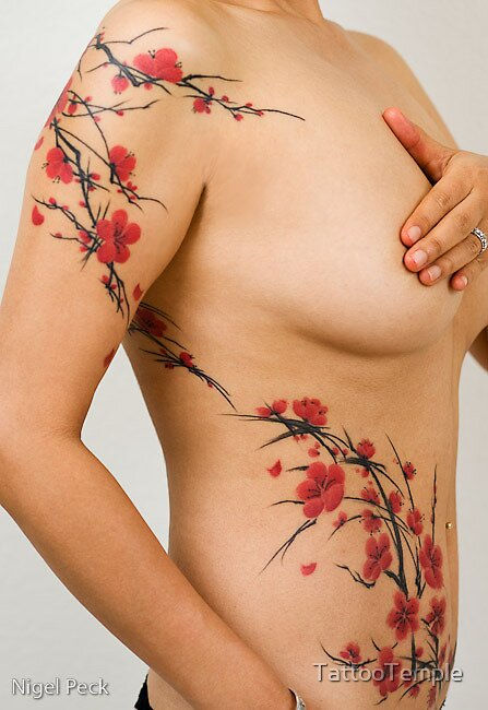 Freehand Cherry Blossoms by TattooTemple