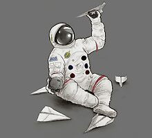 Astronaut with Paper Airplanes by DaydreamerArt