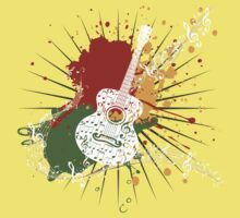 Music Poster with Guitar One Piece - Short Sleeve