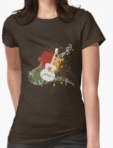 Music Poster with Guitar Womens Fitted T-Shirt