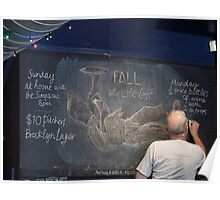 Portrait of the artists' bald head whilst doing chalk mural Poster