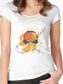 Male Dj Illustration Women's Fitted Scoop T-Shirt