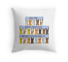 Cats celebrating birhtdays on November 5th. Throw Pillow