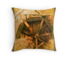 Country Cider Mill Water Wheel Throw Pillow