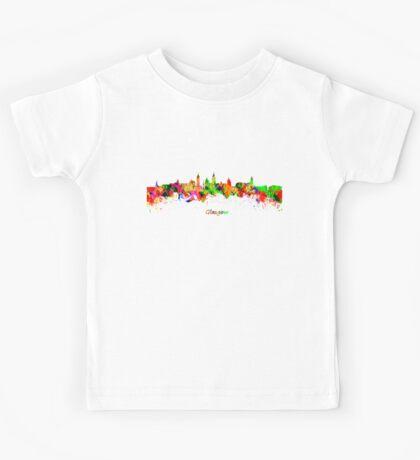 Glasgow Watercolor skyline Kids Tee