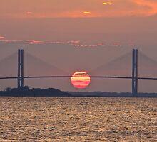 Sidney Lanier Bridge Sunset Jekyll Island September 2010 by Phillip S. Vullo Jr.