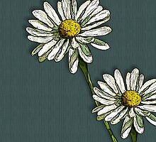 Two Daisies on Deep Green/Blue by Joyce Geleynse
