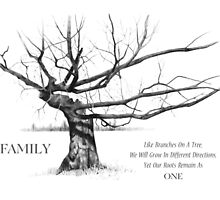 FAMILY Quote, with Gnarly Tree in Pencil: Drawing by Joyce Geleynse
