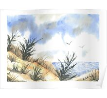 Windy Day at the Beach Poster