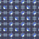 Penguins on Plaid - Blue by RenaInnocenti