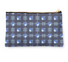 Penguins on Plaid - Blue Studio Pouch