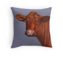 Red Hereford Beef Cow in Oil Pastel Throw Pillow