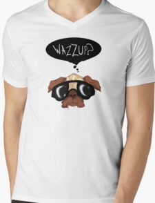 """Wazzup?"" Pug Mens V-Neck T-Shirt"