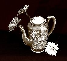 pitcher of flowers3-full B&W sepia by henuly1