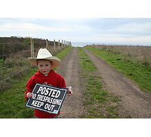 No Trespassing Little Cowboy Photographic Print