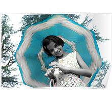 Cute Girl Play With Umbrella ! Poster