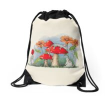 Mice with Toadstools and Flowers, Fantasy Art Drawstring Bag