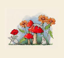 Mice with Toadstools and Flowers, Fantasy Art by Joyce Geleynse