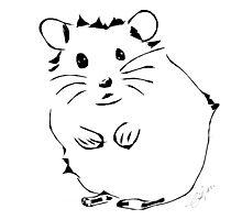 Hamster Minimalist Sketch  Photographic Print