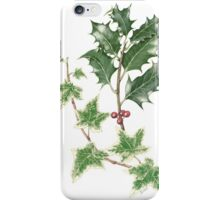 Christmas Holly and Ivy in Watercolour iPhone Case/Skin