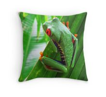 Red-eyed green tree frog Throw Pillow