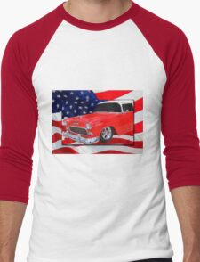 Patriotic 55 Chevy Men's Baseball ¾ T-Shirt