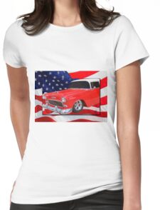 Patriotic 55 Chevy Womens Fitted T-Shirt