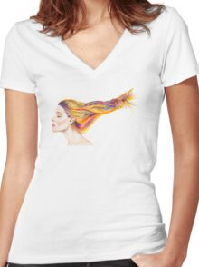 Girl With Colorful Hair Women's Fitted V-Neck T-Shirt