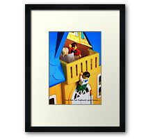 Uh oh, caught. Framed Print